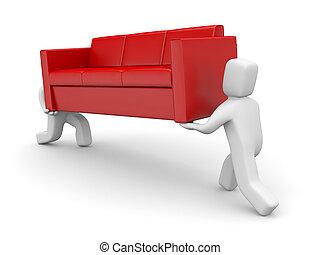 en mouvement, metaphor., gens, porter, sofa
