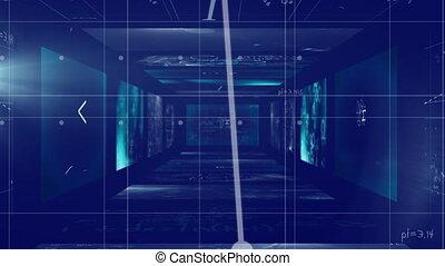 en mouvement, murs, équations, animation, flotter, carrée, ...