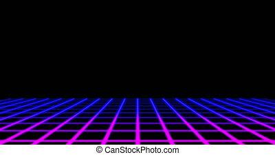 en mouvement, noir, contre, néon, grille, lignes, fond