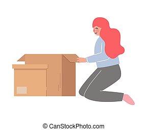 en mouvement, nouveau, girl, genoux, femme, elle, affaires, ...