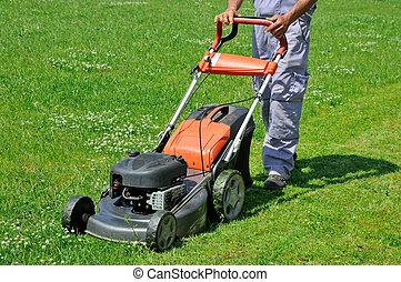 en mouvement, pelouse, ouvrier, pré
