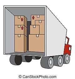 en mouvement, relocalisation, camion
