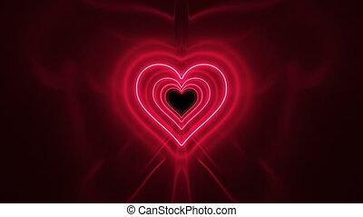 en mouvement, rouges, art, animation, 4k, forme, coeur, incandescent, tunnel, fond, lumières, résumé, romantique, beau, ultra, couleurs claires, 3d, lights., néon, concept., hd, fait boucle, futuriste, seamless.