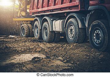 en mouvement, sol, construction, truck., ouvrier, backhoe, site, décharge