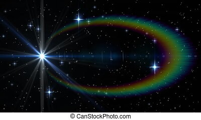 en mouvement, taches, étoiles, lumière, errant, fond, noir,...