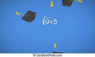 en mouvement, tomber, remise de diplomes, mathématique, ...