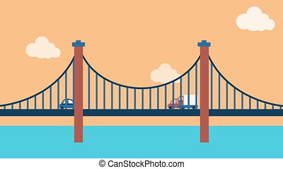 en mouvement, véhicule, pont