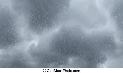 en mouvement, vidéo, nuages, fond, chute neige