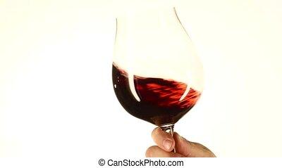 en mouvement, vin, closeup, verre, blanc