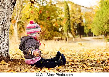 en, otoño, parque