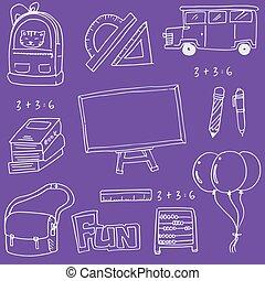en, púrpura, fondos, escuela, educación, doodles