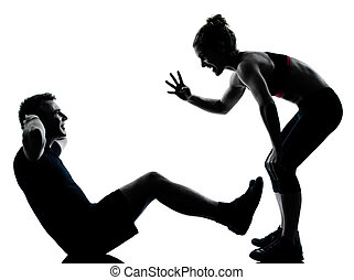 en, par, bemanna kvinna, exercerande, genomkörare, fitness