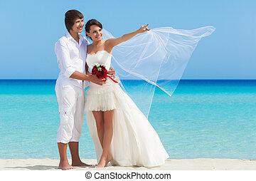 en, par, stranden