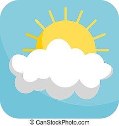 en parte, azul, simple, nublado, plano de fondo, icono