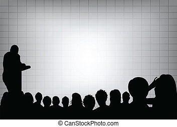 en, person, gør, en, præsentation, hos, en, konference...