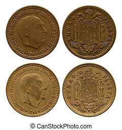en, peseta, spanien, francisco franco, 1947, 1966