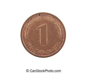 en, pfennig, mynt, från, tyskland