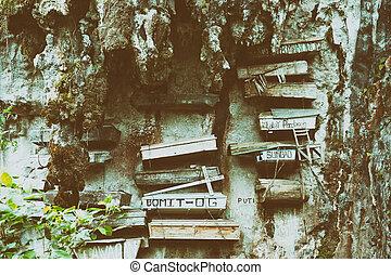en, philipphines, el, típico, ahorcadura, cementerio