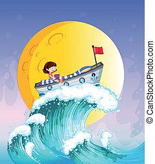 en, pige læse, en båd, foroven, den, stor bølge