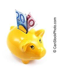 en, piggy bank, hos, banknotes euro