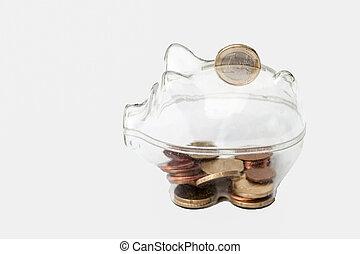 en, piggy bank, hos, euro, fald