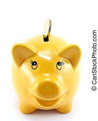 en, piggy bank, hos, valuta euro