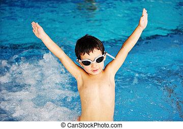 en, piscina