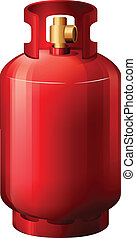 en, rød, gas cylinder