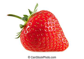 en, rød, jordbær, isoleret, på, en, hvid, baggrund.