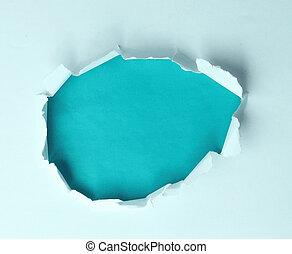 en, riv, hul, den, avis, på, en, blå baggrund, by, din, reklame, tekst