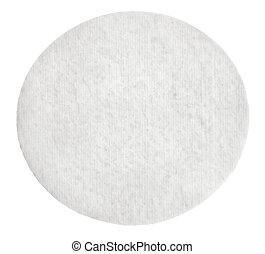 en, runda, bomull, kosmetisk, vaddera, isolerat, vita