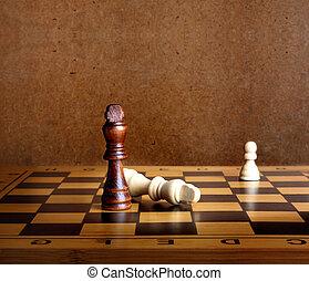 en, schack, kung, dominera, en annan, på, den, schackbräde