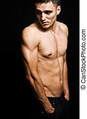 en, shirtless, kylig, manlig, ung man