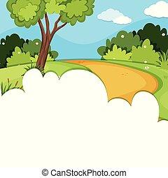 en, skabelon, hos, skov, vej