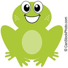 en, smil, grøn frø