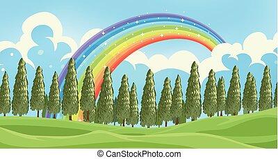 en, smukke, grønnes skov, landskab