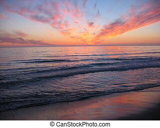 en, solnedgang, hos, en, strand