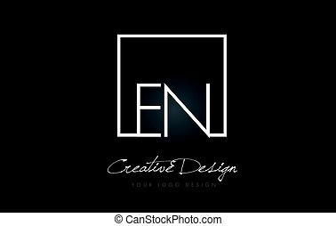 EN Square Frame Letter Logo Design with Black and White Colors.