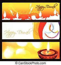 en-têtes, diwali, coloré