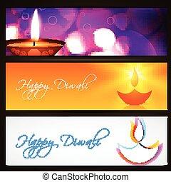 en-têtes, diwali, vecteur