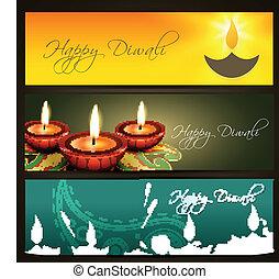 en-têtes, diwali, vecteur, ensemble