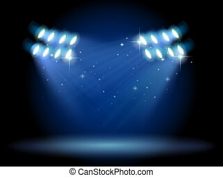 en, tömma scen, med, spotlights