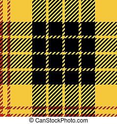 en, tartan, geel, herhaal, ルード, geruite, ベクトル, zwart