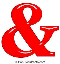 en-teken, rood, 3d