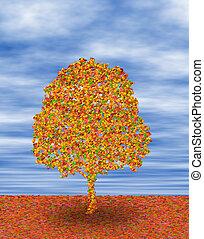 en, træ, ind, efterår