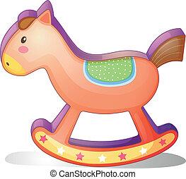en, træagtig hest, stykke legetøj