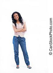 en, ung kvinde, beliggende, hos, hende, arme foldede, er, smil