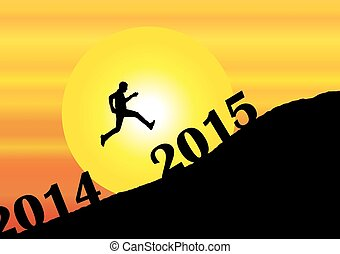 en, unge menneske, silhuet, springe, fortid, 2014, into, den, nytår, 2015, på, bjerg, hos, klar, gul sol, og, appelsin himmel, -, aftenen, solnedgang, eller, formiddag, solopgang, begreb, illustration, kunst