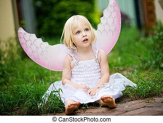 en, uskyldig kigge, lille pige, påklædt, ind, en, engel...