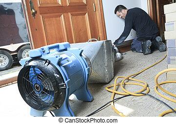 en, ventilation, ren, arbejde på, en, luft, system.
